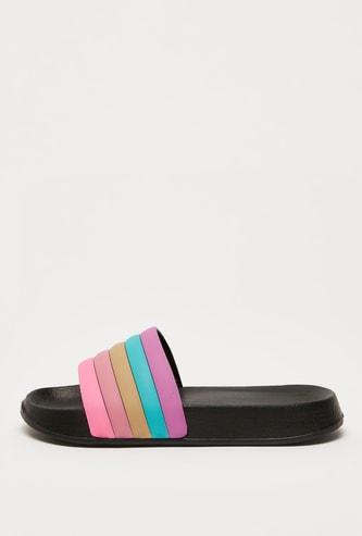 Panelled Open-Toe Slip-On Beach Slippers
