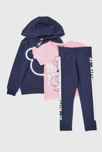 Minnie Mouse Themed T-shirt and Track Pants Set with Zip Through Hoodie