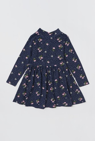 All-Over Floral Print Dress with Long Sleeves and Keyhole Closure