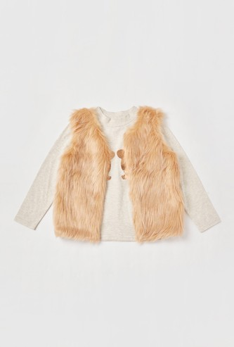 Set of 2 - Sequin Detail T-shirt with Plush Gilet Jacket