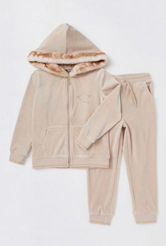 Set of 2 - Star Detail Hoodie and Solid Jog Pants