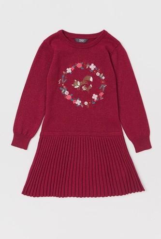 Fox Embroidered Sweater Dress with Long Sleeves