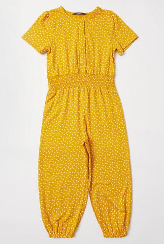 Polka Dot Print Round Neck Jumpsuit
