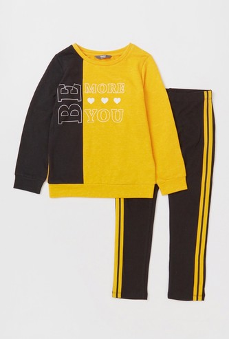 Set of 2 - Printed Sweatshirt and Pyjamas