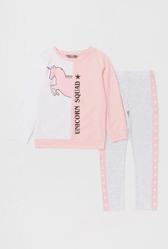 Set of 2 - Unicorn Print Sweatshirt and Pyjamas