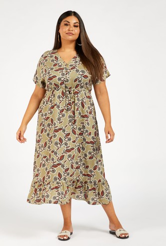 Floral Print Midi Tiered Dress with Short Sleeves