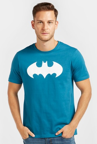Batman Print Round Neck T-shirt with Short Sleeves