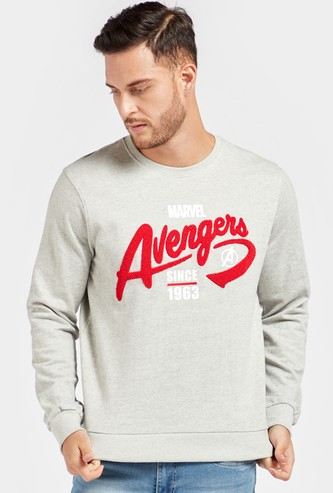Avengers Themed Round Neck Sweatshirt with Long Sleeves