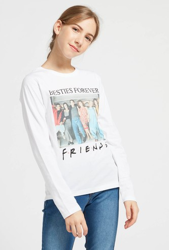 Friends Graphic Print T-shirt with Round Neck and Long Sleeves