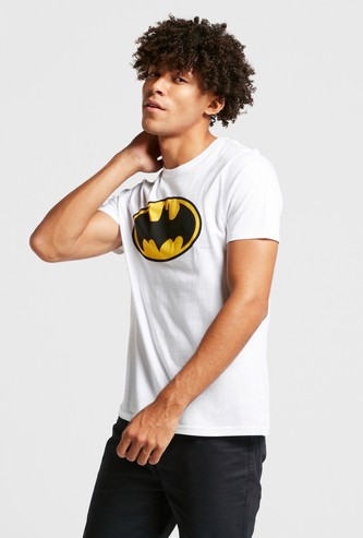 Batman Logo Print Round Neck T-shirt with Short Sleeves