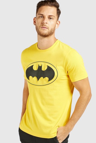 Batman Embossed Print T-shirt with Crew Neck and Short Sleeves