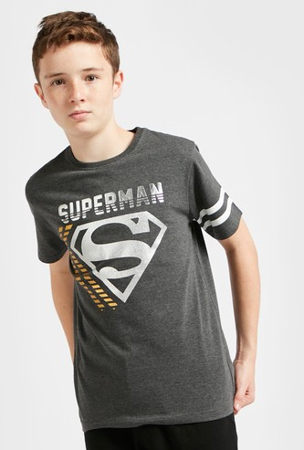 Superman Foil Print T-shirt with Crew Neck and Short Sleeves