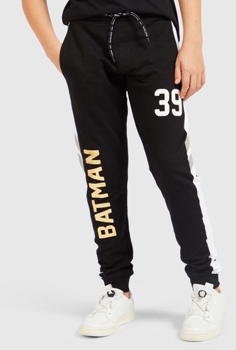 Batman Print Joggers with Elasticated Drawstring Waist and Pockets