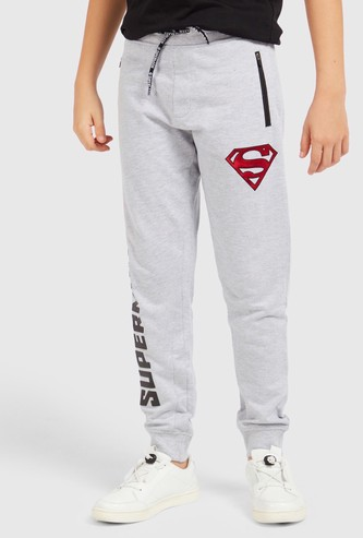 Superman Print Joggers with Elasticated Drawstring Waist