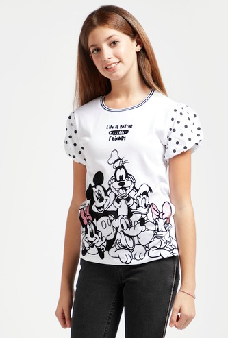 Mickey and Friends Graphic Print T-shirt with Puff Sleeves