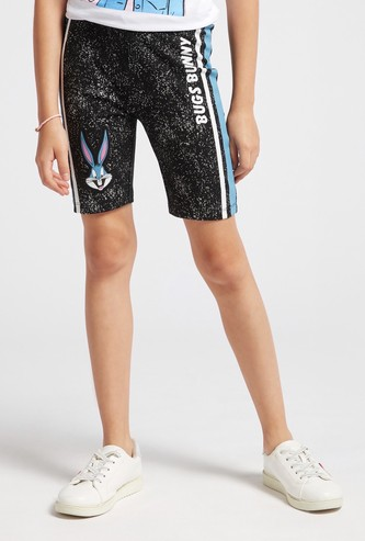 Bugs Bunny Print Cycling Shorts with Elasticated Waistband
