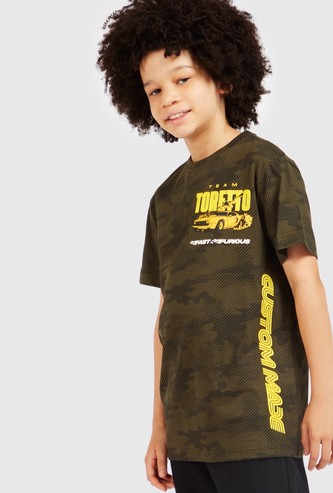 Fast & Furious Print T-shirt with Round Neck and Short Sleeves