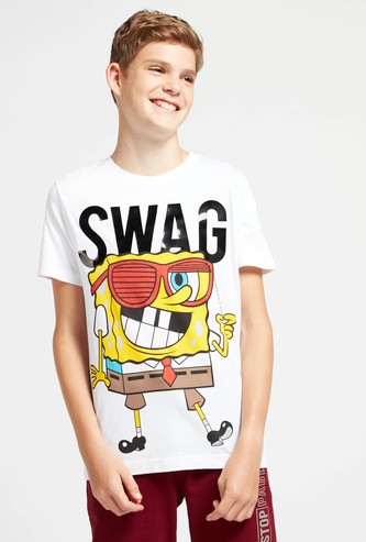 SpongeBob SquarePants Graphic Print T-shirt with Crew Neck