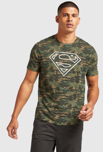 Superman Camouflage Print T-shirt with Short Sleeves
