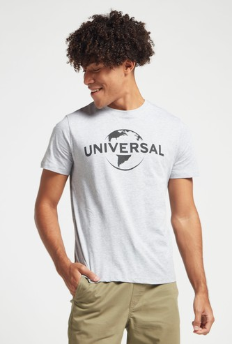 Universal Graphic Print T-shirt with Crew Neck and Short Sleeves
