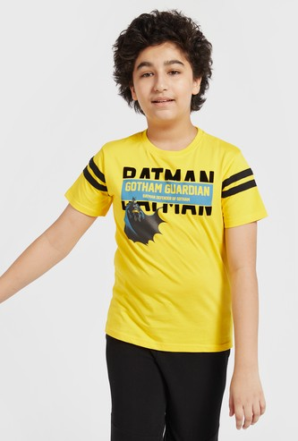 Batman Gotham Guardian Print T-shirt with Round Neck and Short Sleeves