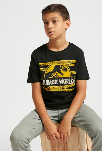 Jurassic World Graphic Print T-shirt with Round Neck and Short Sleeves