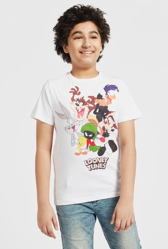 Looney Tunes Print T-shirt with Round Neck and Short Sleeves