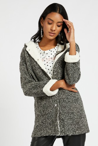 Textured Hooded Jacket with Long Sleeves and Pockets