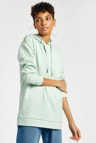 Embroidered Hoodie with Long Sleeves and Drawstring Closure