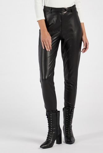Solid Regular Fit High-Rise Faux Leather Pants with Belt