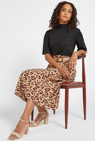 Printed Midi A-line Dress with High Neck and Short Sleeves