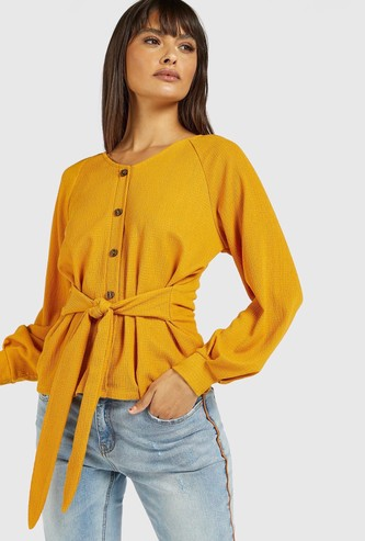 Textured Button Up Top with Bishop Sleeves and Tie-Ups