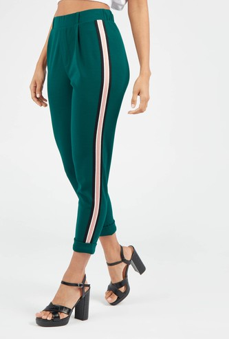 Tape Detail High-Rise Pants with Elasticised Waistband