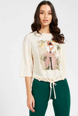 Graphic Print Top with 3/4 Sleeves and High Low Hem