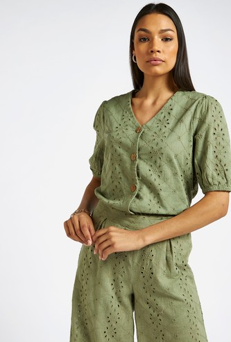Schiffli V-neck Top with Puff Sleeves and Button Detailing