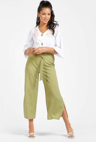 Textured Cropped Palazzo with Belted Waist and Slit Detail