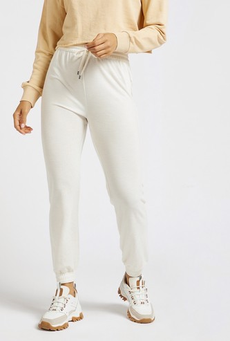 Solid Full-Length Joggers with Elasticated Drawstring Waist