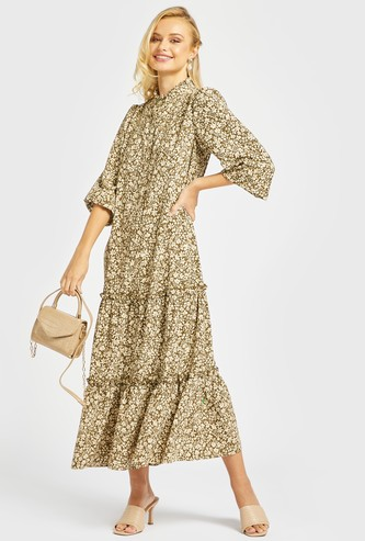All-Over Floral Print Tiered Maxi Dress with 3/4 Sleeves