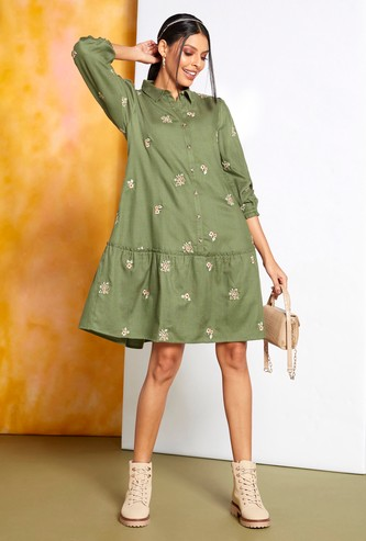 Floral Embroidered Dress with Long Sleeves and Button Closure