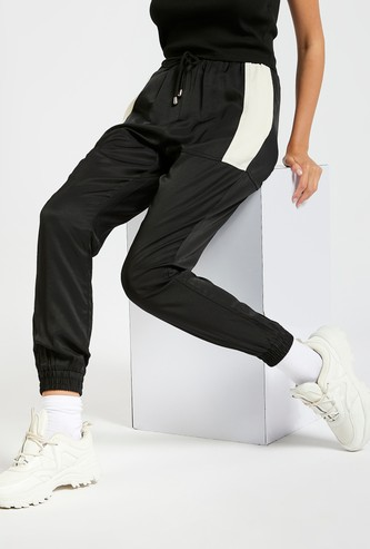 Solid Jog Pants with Side Panel Detail and Drawstring Closure