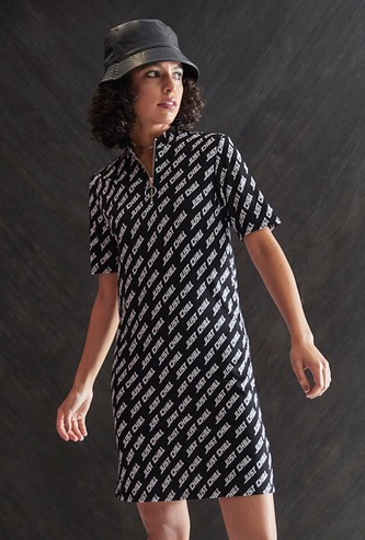 All-Over Printed T-shirt Dress with Zippered Neck
