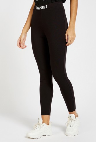 Solid Leggings with Slogan Print Elasticated Waistband
