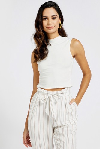 Ribbed Sleeveless Crop Top with High Neck