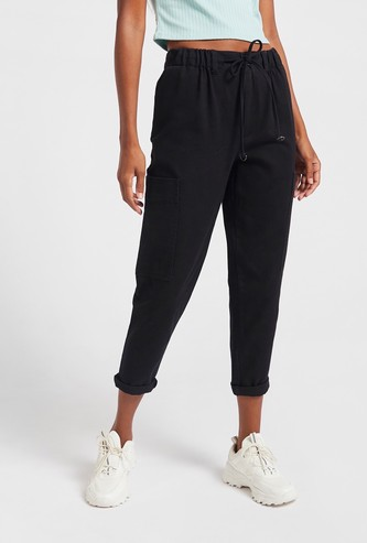 Solid Cropped Pants with Drawstring and Pockets