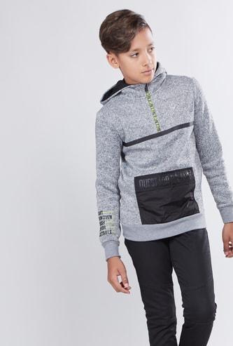 Textured Sweatshirt with Hood and Long Sleeves