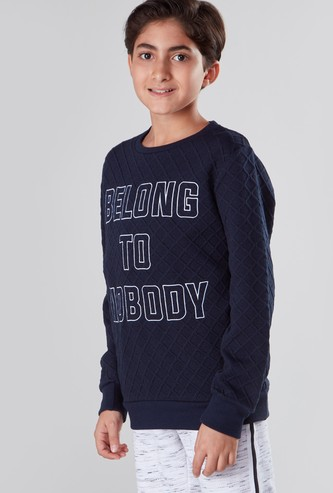 Slogan Printed Sweatshirt with Round Neck and Long Sleeves