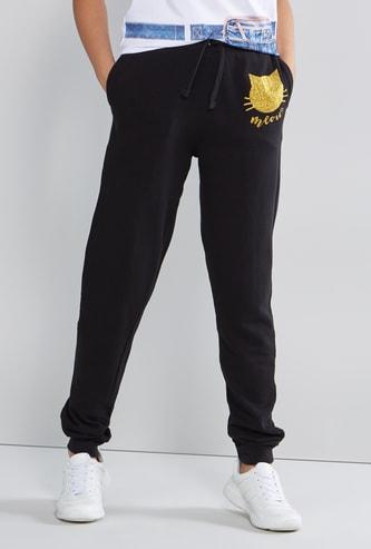Glitter Printed Jog Pants with Drawstring and Pocket Detail
