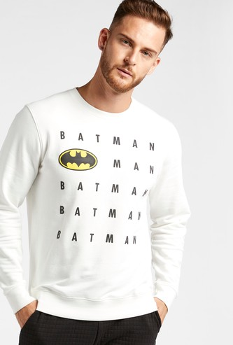 Batman Graphic Print Sweatshirt with Crew Neck and Long Sleeves