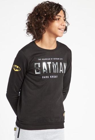 سويت شيرت بياقة مستديرة وأكمام طويلة وطبعات باتمان