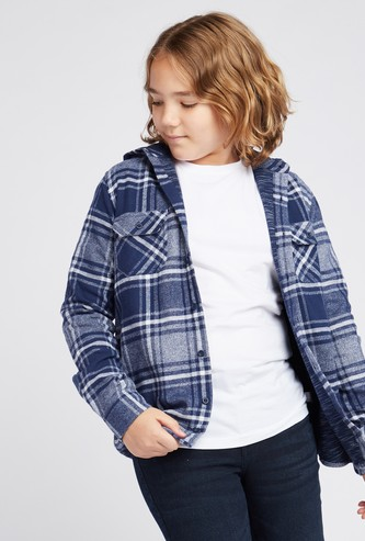 Checked Shirt with Hooded Neck and Long Sleeves